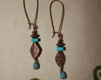 114 Turquoise, copper charm and Czech glass dangle earrings, rustic, boho, artisan