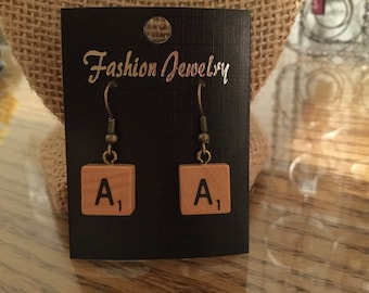 "Scrabble ""mini"" tile earrings!"
