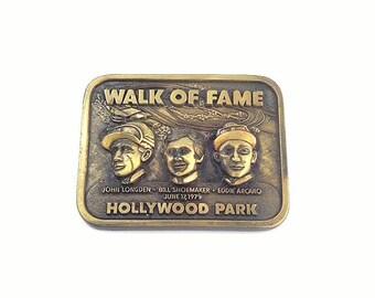 Vintage Brass Walk of Fame Hollywood Park Belt Buckle