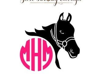 Monogramed Horse Decal - Personalized Equestrian