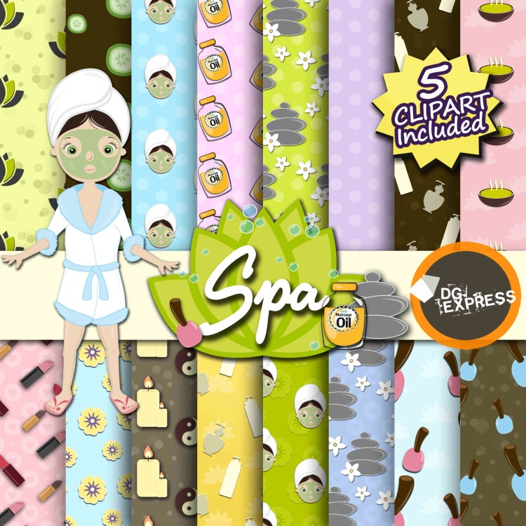Barbie Nail Art Games Free Download: Spa Digital Paper Spa Girls Clipart Spa Birthday By DGexpress