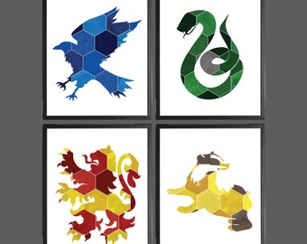 Harry Potter Modern Art Prints Geometric Hexagon - Set of 4