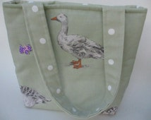 Duck tote bag,fabric lunch bag,kids goose bag,small lunch bag,small tote bag,fabric shoulder bag,baby shower gift,knitting bag,sage duck bag
