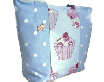 Cupcakes Tote bag, lunch bag,large tote, dotty bag, large lunch bag, baby bag,Scottie dog tote bag, Blue dotty ,baby shower gift,cupcakes