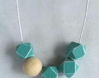 Wooden bead necklace // turquoise and white // hand painted