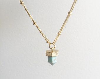 Tiny Turquoise Necklace, Boho Style Necklace