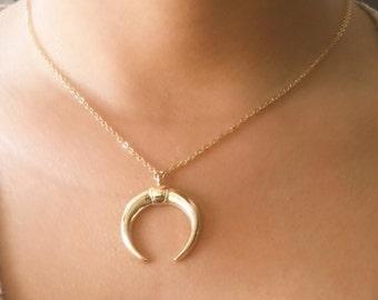 SALE... Horn Necklace, Gold Necklace, Simple Necklace