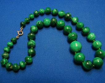Vintage Malachite Semi Precious Gemstone Graduated Hand Knotted Bead Necklace