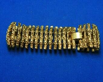Vintage Textured Gold Tone Slinky Chunky Statement Bracelet