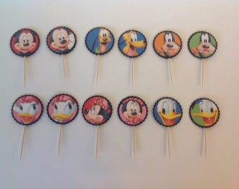 Mickey Mouse Clubhouse Cupcake Toppers, set of 12