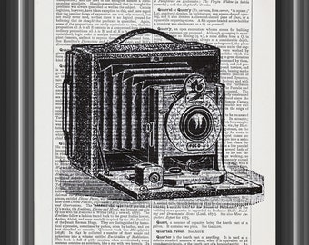 vintage camera film photography gift upcycled dictionary art print vintage print wall art home decor