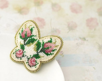 Bead embroidery brooch Beaded brooch Brooch butterfly Rosebud brooch Floral brooch Embroidery brooch Handmade jewelry Bead embroidery rose