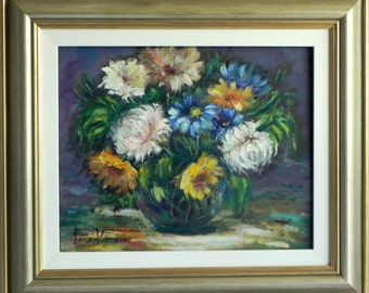 FLOWERS with dark background - painting oil on canvas
