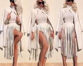 White leather fringe belt inspired by Kim Kardashian skirt drag queen dress