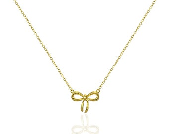 Sterling Silver Bow Necklace - Tie Knot Necklace