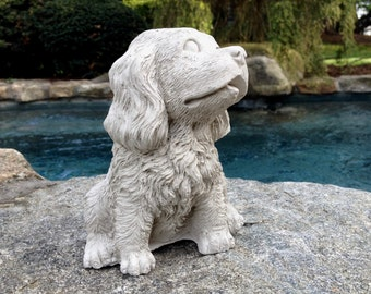 Concrete Spaniel dog statue, Concrete Spaniel Statue, Dog Statues, Concrete Garden Decor, Pet Loss, Pet Memorial, Loss of Pet Dog Statue