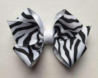 Zebra hair bow, girls hair bow, toddler hair bow, baby hair bow, small bows, large hair bow, girl hair bow, zebra bow, plain bow
