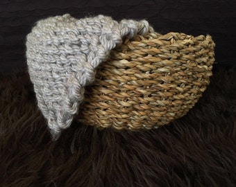 Grey chunky Knit Mini blanket newborn photo prop layering basket filler