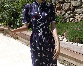 80's dark blue tucked waist dress