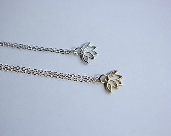 Gold Lotus Flower necklace - Tiny Lotus Necklace in Sterling Silver - Yoga Jewelry - Flower necklace - Gift for her - Buddhist- Zen necklace
