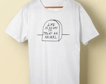 """Kurt Vonnegut """"Life is No Way to Treat An Animal"""" t shirt tee Mother Night Breakfast of Champions  S M L XL 2X 3X 4X 5X"""
