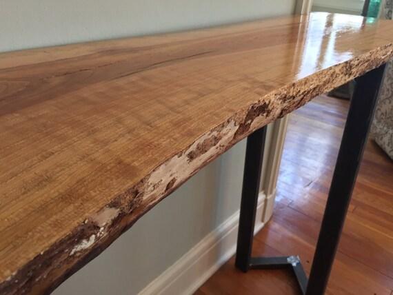 Sofa table entryway table console live edge slab bar table for Console table haute bar