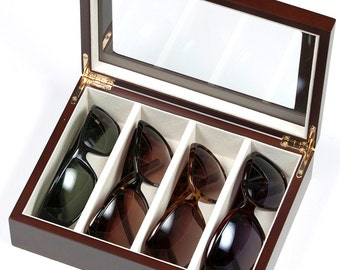 Eyeglasses/ Sunglasses Storage Wooden Case with glass top (SD-204)