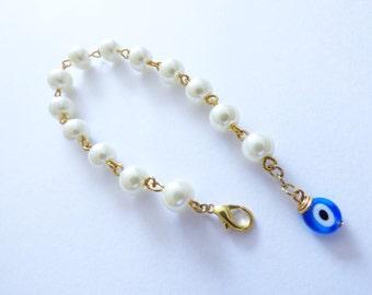 Pearl Bracelet Blue Evil Eye PU015