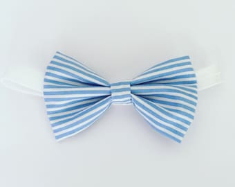 Stripy hair bow, cotton hair bow, blue headband, large striped bow, fabric hairband, ponytail hair clip, oversized hair bow, girl's hairclip