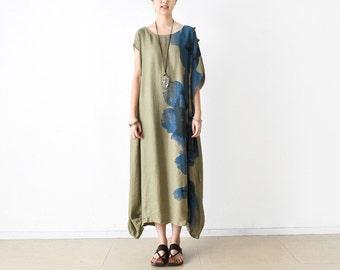 Womens Summer Asymmetric Loose Fitting Printed Floral Linen Robe Long Dress, Womens Loose Fitting Casual Dresses, Maxi Dress, Khaki Dress