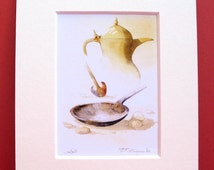 Arabian Watercolour Print Coffee Pot Dallah Mounted Traditional Nomadic Bedouin Arab Desert Brass Gold Utensils Mounted Art Card Gift