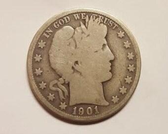 1901-S Barber Half Dollar Rare Date 90% Silver