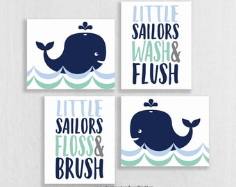 Whale Bathroom Art Prints Set Of 4 Whale Bathroom Decor Whale Watch Wash