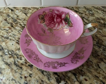 Pink and gold teacup and saucer Royal Halsey L and M