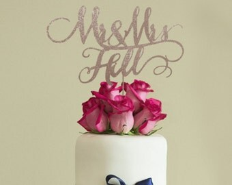 Mr and Mrs Custom Wedding Cake Topper, Yellow Gold, Antique Gold, Rose Gold, Champagne, Silver, Black and Brown