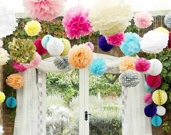 Set of 3x 20 cm party pom poms, tissue party decoration, hanging pompom, wedding party decoration