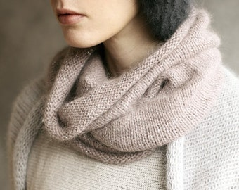 Angora Wool Snood, Neck Scarf, Collar, Knitted, Handmade, Dusky Pink Sparkle
