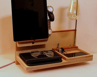Docking Station, charging station, organizer, nightstand lamp, desk organizer, for Him, Birthday Gift, for Her, wedding gift, christmas Gift
