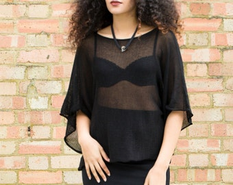 Cotton Loose Knit Sheer Top / T-Shirt, Very Wide Kimono-Style Sleeves, Black, Knitted, Hand-Crafted