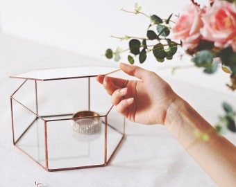 Glass Jewelry Box, Makeup Storage, Wishing Well Box, Geometric Photo Box, Keepsake Box, Glass Card Box, Copper Hexagon Box, Rose Gold Decor