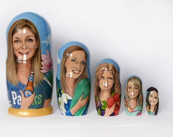Custom Nesting Dolls - Family Matryoshka - Russian Nesting dolls with portrait - Dolls Set- Personalized gift - Personalized Nesting Dolls