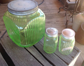 Large Green Canister Jar with lid and salt and pepper