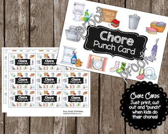 50% OFF SALE Chore Punch Cards - Kit 2 - Chore Chart - Kids - Toddler - Picture - Routine - {printable - Instant Download - PDF