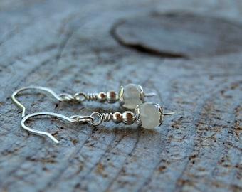 Natural Rainbow Moonstone 925 Sterling Silver Earrings