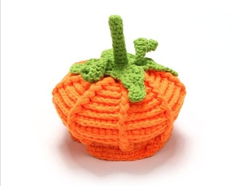 Infant knit crochet fall pumpkin hat photo prop