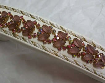 Vintage Frosted Pink Glass and AB Rhinestone Bracelet