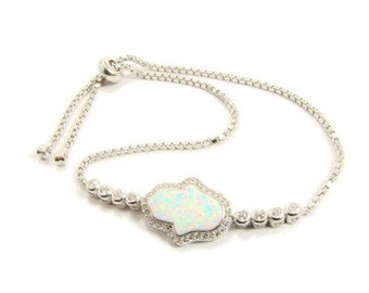 Hamsa Bracelet Opal Sterling Silver Fatima Hand Tennis Style