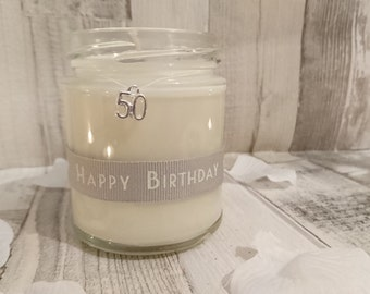 50 or 60 Happy Birthday Scented Jar Candle