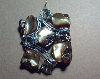 "Wire Jewelry, Pendant, Handmade- Shell, Crystal, Silver, Design, Necklace (L- 18"")"