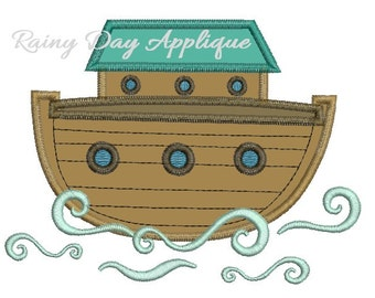 Noah's Ark Applique, Ark Design, Christian Embroidery, Cute Ark Applique, Noah's Ark Design, Christian Applique